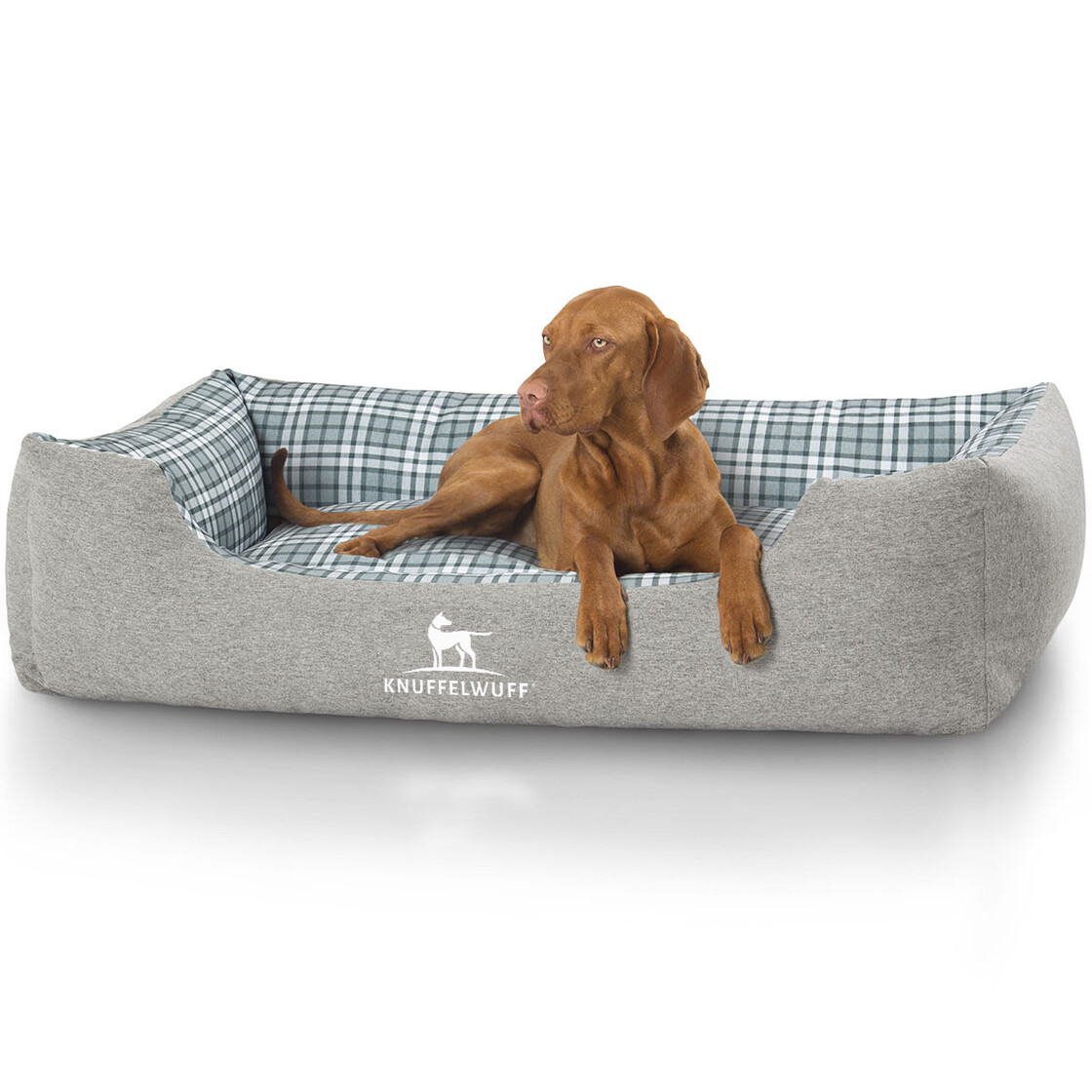Knuffelwuff Checked Pattern Velour Dog Bed Lennard 66 74